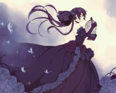 pandora hearts alice cage butterflies gothic dress profile view anime 18149 resized